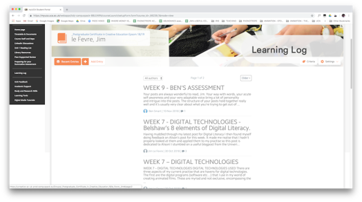 fig vii - Screenshot of MyUCA Website - this view is a students' Learning Log
